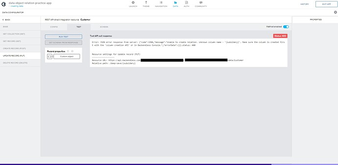 appgyver data configurator PUT error message