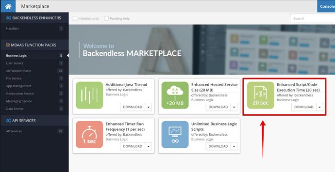 mBaaS Function packs - Business Logic - Marketplace - ConsoleDemo - Backendless - Google Chrome 2020-05-16 13.09.41