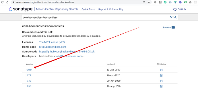com.backendless : backendless - Official search of Maven Central Repository 2020-06-17 11-13-33