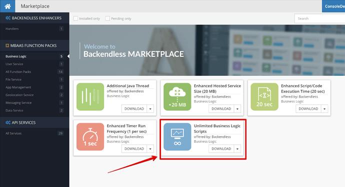 mBaaS Function packs - Business Logic - Marketplace - ConsoleDemo - Backendless - Google Chrome 2020-05-16 13.07.45