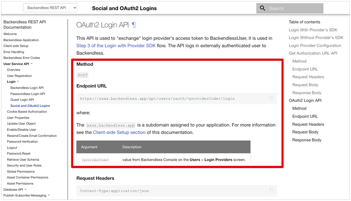 Social and OAuth2 Logins - Backendless REST API Documentation 2021-07-16 21-46-36