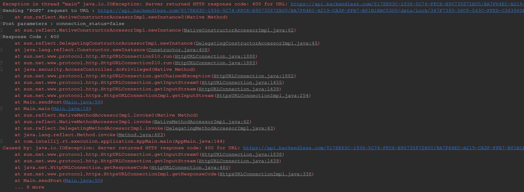 java io IOException: Server returned HTTP response code: 400